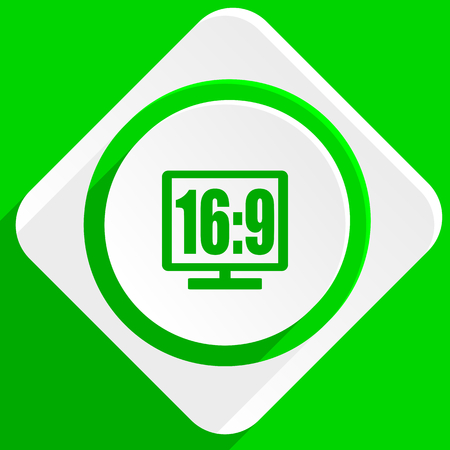 display: 16 9 display green flat icon