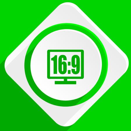 16 9 display: 16 9 display green flat icon