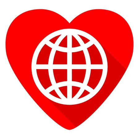 red earth: earth red heart valentine flat icon