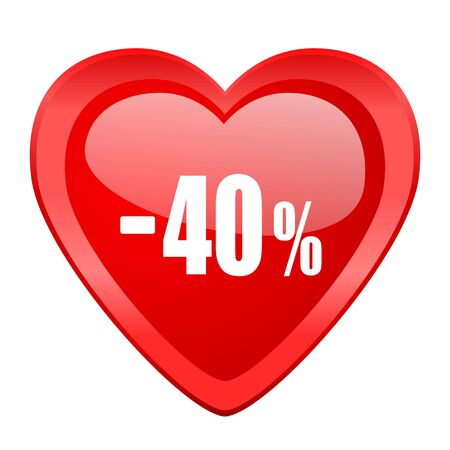 commission: 40 percent sale retail red heart valentine glossy web icon
