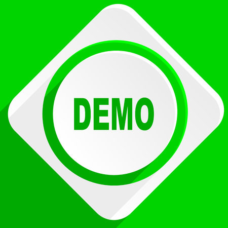 trials: demo green flat icon
