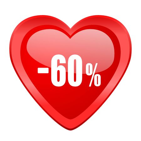60: 60 percent sale retail red heart valentine glossy web icon