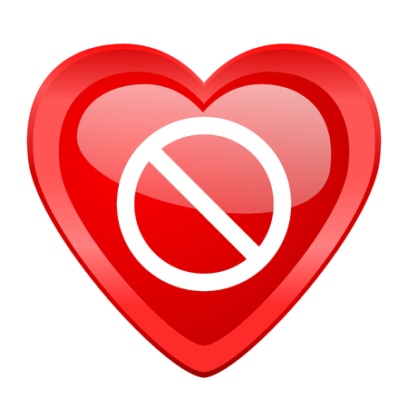 entrance is forbidden: access denied red heart valentine glossy web icon