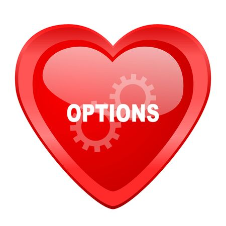 parameters: options red heart valentine glossy web icon Stock Photo