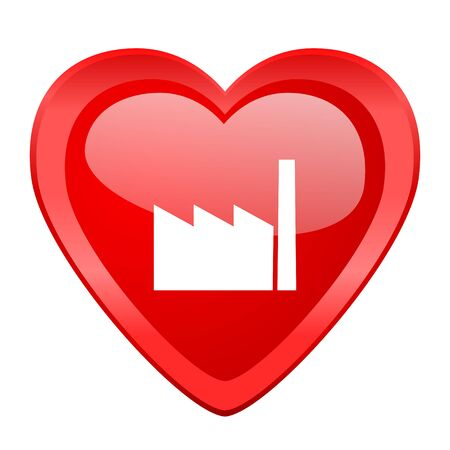 industrial complex: factory red heart valentine glossy web icon