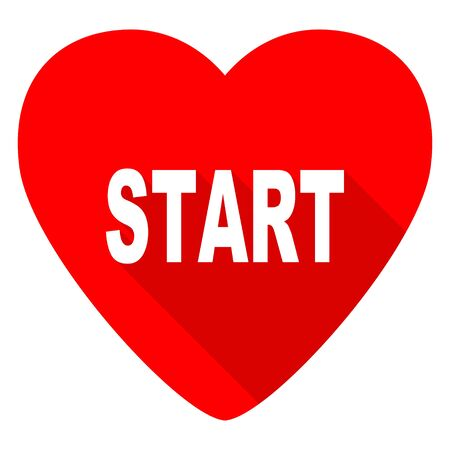 proceed: start red heart valentine flat icon