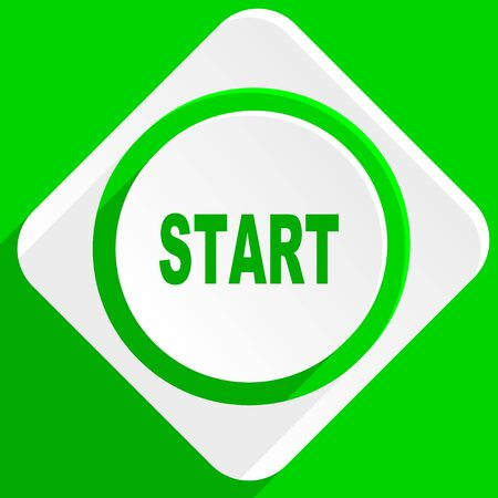 beginnings: start green flat icon Stock Photo