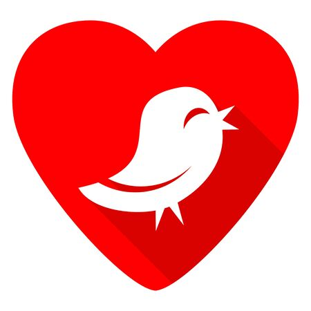 tweet: bird red heart valentine flat icon