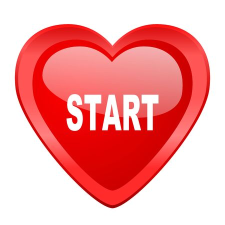 proceed: start red heart valentine glossy web icon