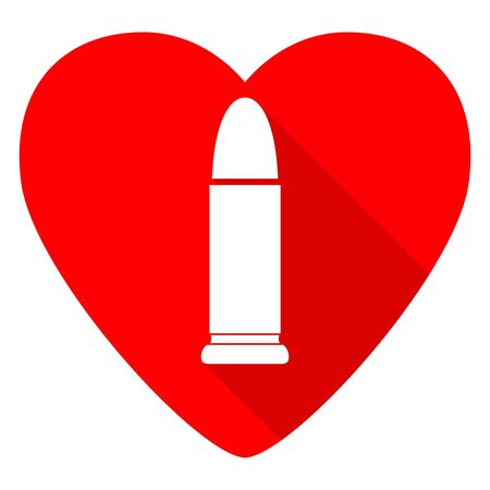 ammunition: ammunition red heart valentine flat icon
