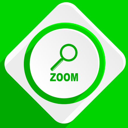 magnification icon: zoom green flat icon