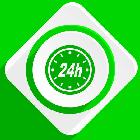 24h: 24h green flat icon