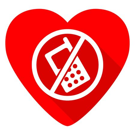 no cell phone: no phone red heart valentine flat icon