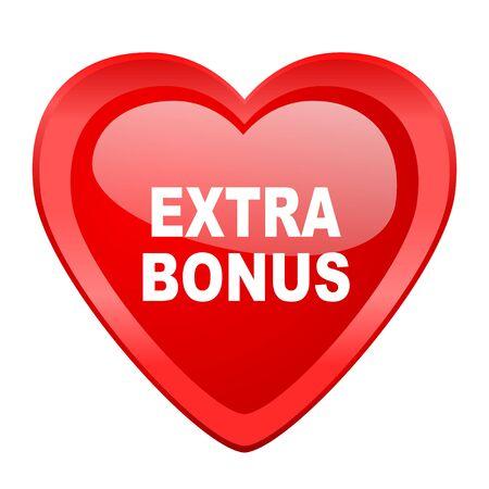 extra: extra bonus red heart valentine glossy web icon Stock Photo