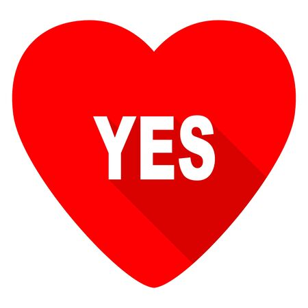 proceed: yes red heart valentine flat icon
