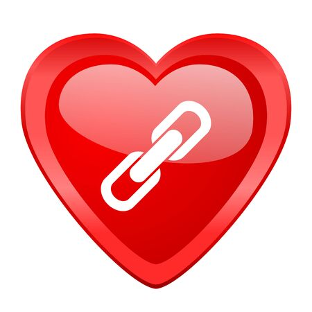 cohesion: link red heart valentine glossy web icon