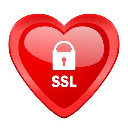 ssl: ssl red heart valentine glossy web icon Stock Photo