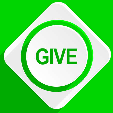 give: give green flat icon
