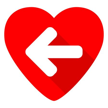 move backward: left arrow red heart valentine flat icon