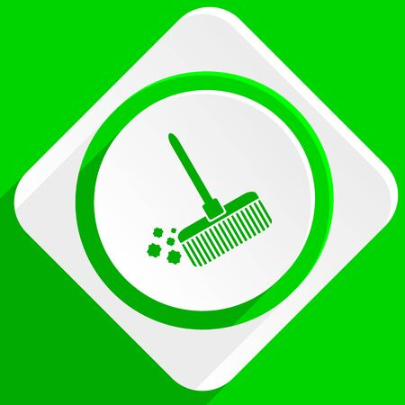 cleanliness: broom green flat icon
