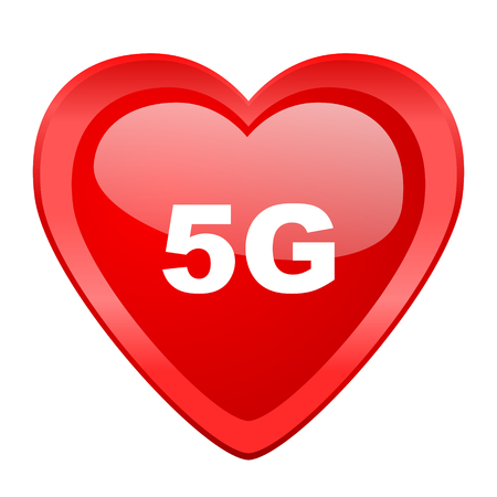 5g: 5g red heart valentine glossy web icon Stock Photo