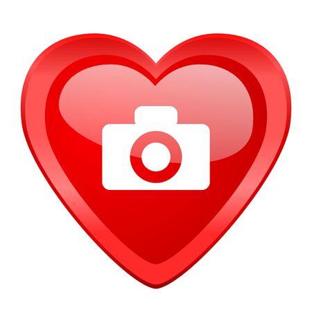 picto: camera red heart valentine glossy web icon