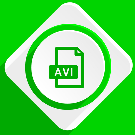 avi: avi file green flat icon