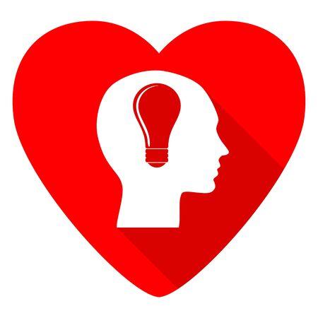 head red heart valentine flat icon Stock Photo