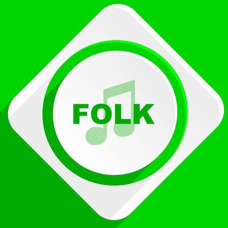 listen live stream: folk music green flat icon Stock Photo