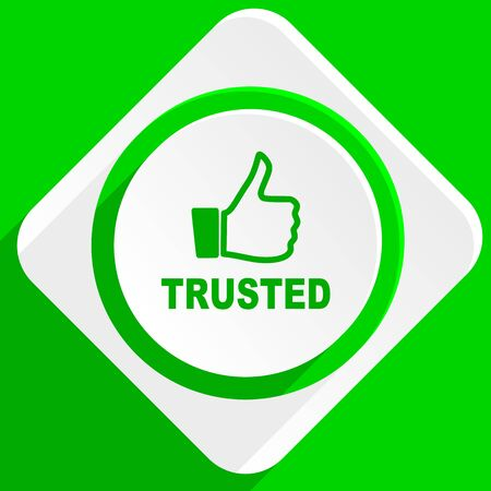 trusted: trusted green flat icon Stock Photo