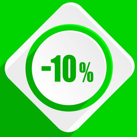 10: 10 percent sale retail green flat icon