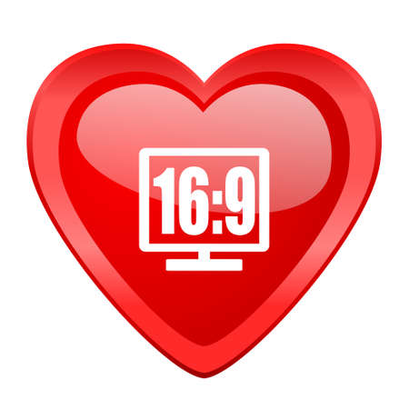 16 9 display: 16 9 display red heart valentine glossy web icon