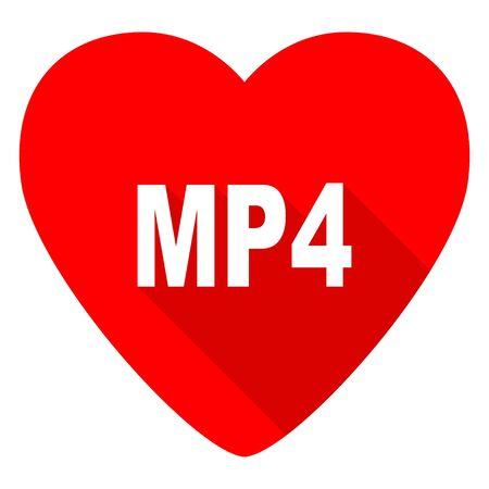 mp4: mp4 red heart valentine flat icon