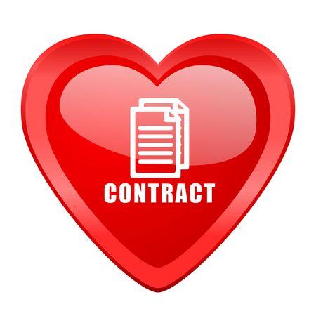 pacto: contrato de corazón de San Valentín roja brillante del icono del Web Foto de archivo