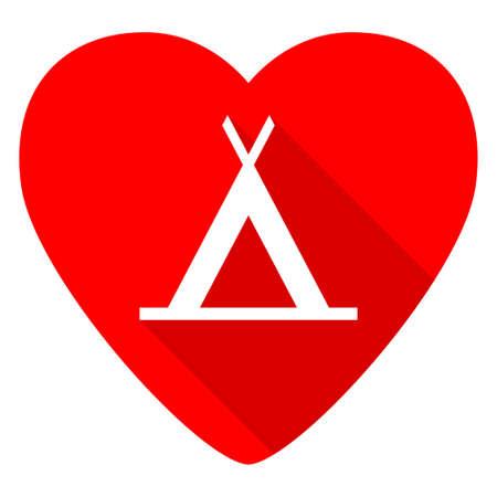 trek: camp red heart valentine flat icon