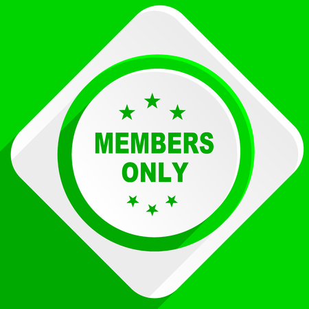 only members: members only green flat icon