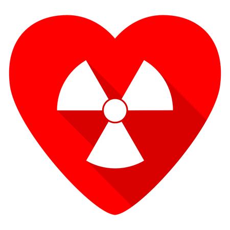gamma radiation: radiation red heart valentine flat icon