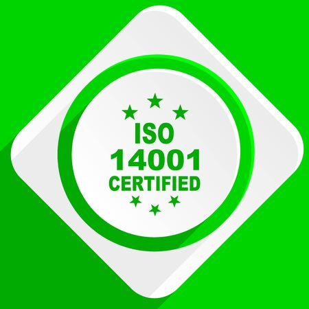 iso: iso 14001 green flat icon