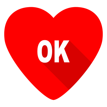 yea: ok red heart valentine flat icon Stock Photo