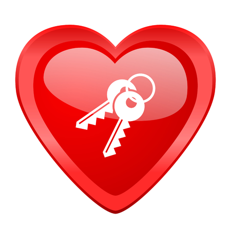 door lock love: keys red heart valentine glossy web icon