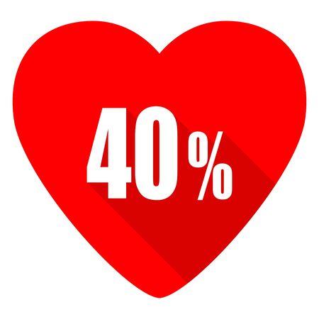 40: 40 percent red heart valentine flat icon