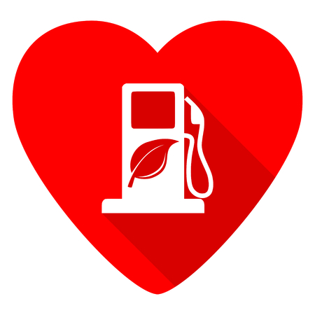 biofuel: biofuel red heart valentine flat icon