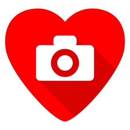 pictorial: camera red heart valentine flat icon