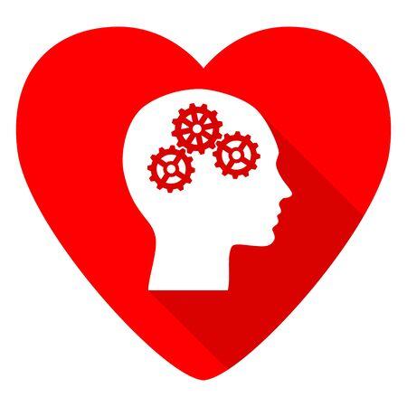 brainy: head red heart valentine flat icon Stock Photo