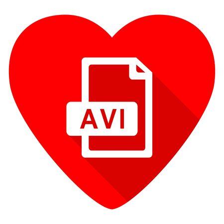 avi: avi file red heart valentine flat icon