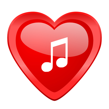 heart tone: music red heart valentine glossy web icon