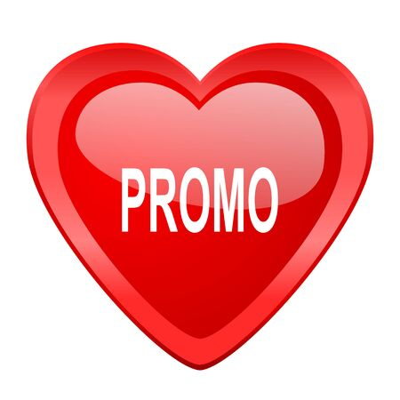 promo: promo red heart valentine glossy web icon