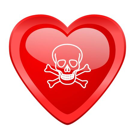 pirating: skull red heart valentine glossy web icon Stock Photo