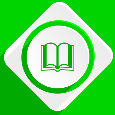 guestbook: book green flat icon