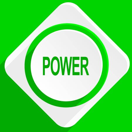 green power: power green flat icon Stock Photo